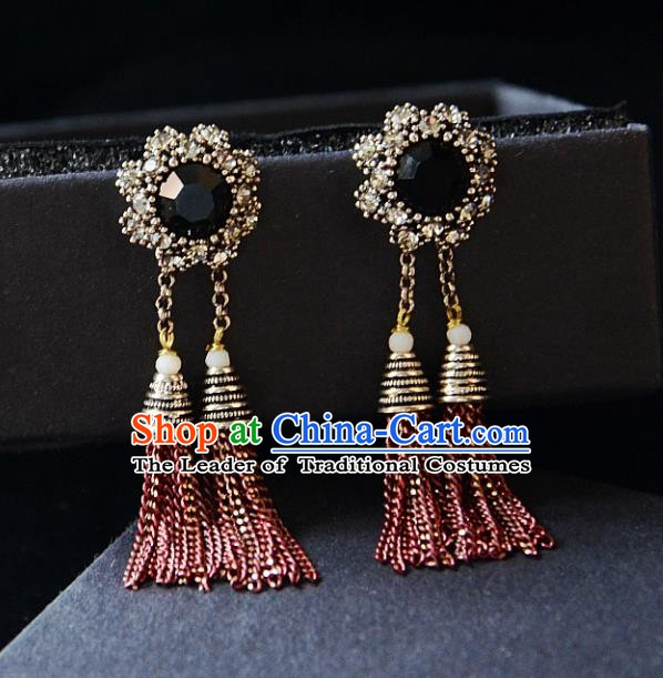 European Western Bride Vintage Jewelry Accessories Eardrop Renaissance Tassel Earrings for Women