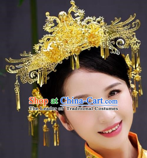Chinese Handmade Classical Wedding Hairpins Ancient Hanfu Hair Accessories Golden Butterfly Phoenix Coronet for Women