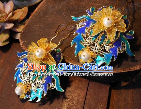 Chinese Handmade Classical Wedding Blueing Hairpins Ancient Hanfu Hair Clip Hair Accessories for Women
