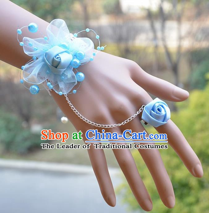 European Western Bride Vintage Jewelry Accessories Renaissance Blue Flower Bracelet with Ring for Women