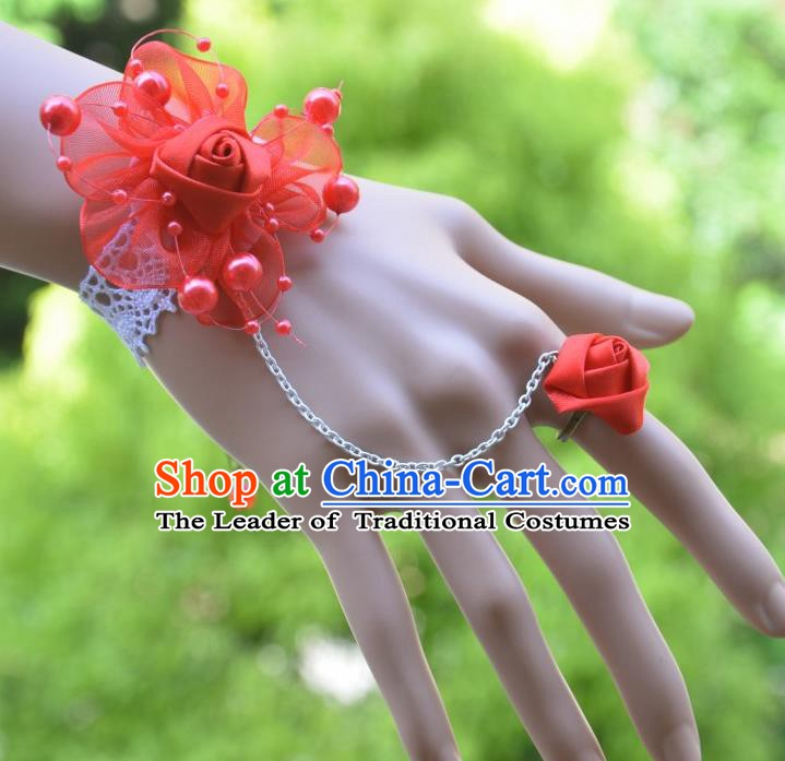 European Western Bride Vintage Jewelry Accessories Renaissance Red Flower Bracelet with Ring for Women
