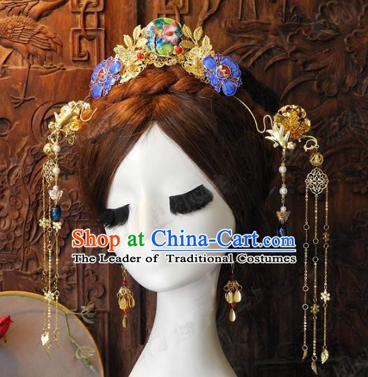 Chinese Handmade Classical Wedding Hairpins Ancient Hanfu Cloisonne Phoenix Coronet Hair Accessories for Women