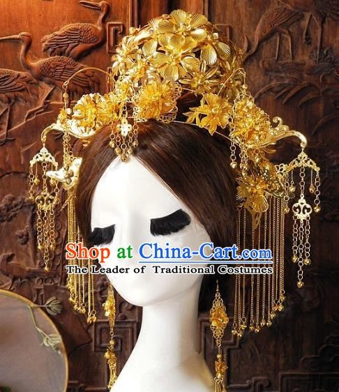 Chinese Handmade Classical Phoenix Coronet Hairpins Ancient Hanfu Headdress Hair Accessories for Women