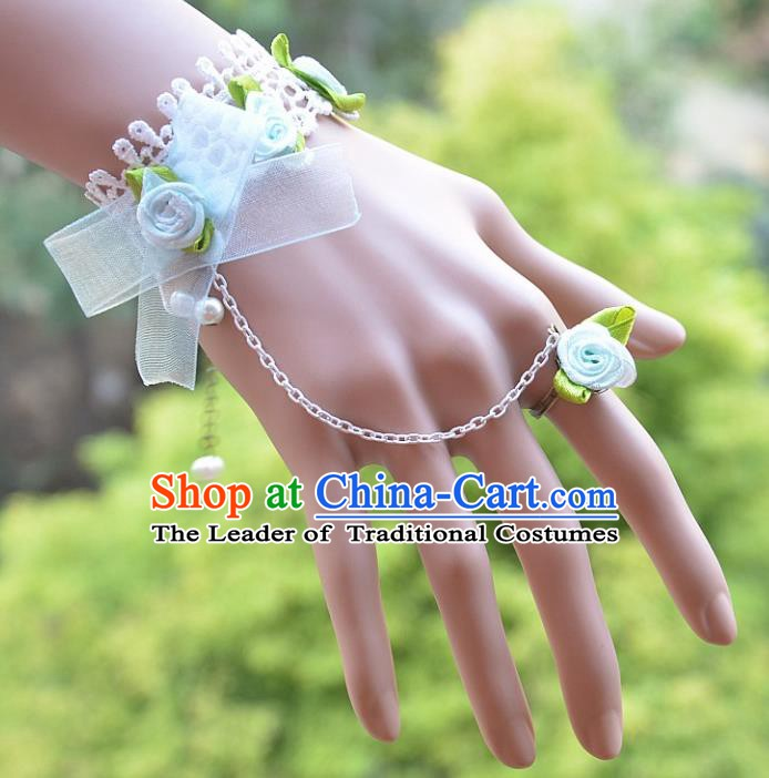 European Western Bride Vintage Jewelry Accessories Renaissance Blue Bowknot Bracelet with Ring for Women