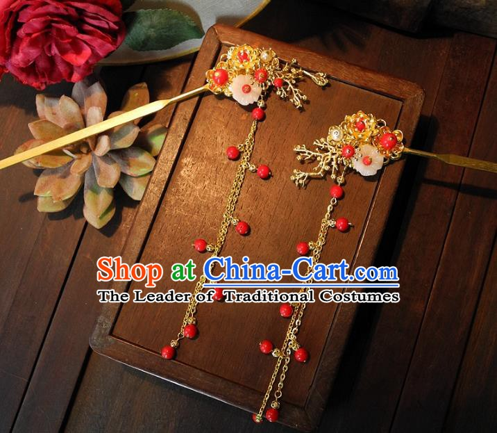 Chinese Handmade Classical Hairpins Ancient Hanfu Tassel Step Shake Hair Accessories for Women