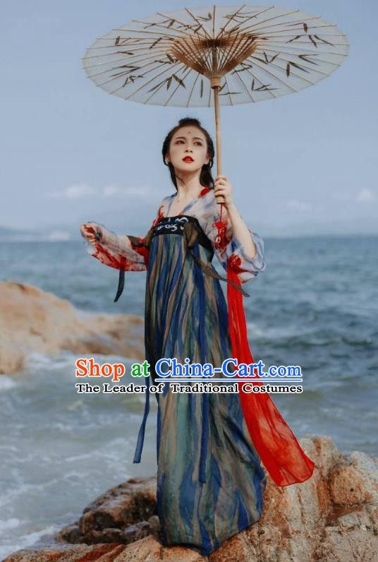 Traditional China Ancient Princess Costume Tang Dynasty Embroidered Dress for Women