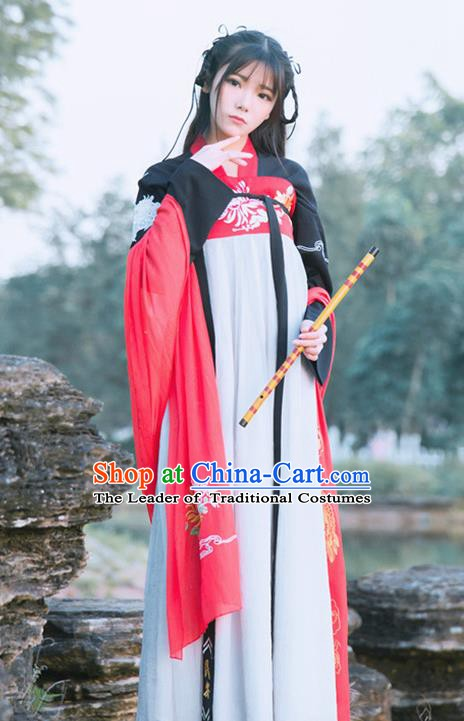 Traditional China Ancient Palace Lady Costume Tang Dynasty Princess Embroidered Dress for Women