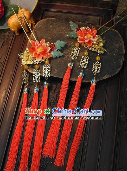 Chinese Handmade Classical Hair Accessories Ancient Hanfu Hairpins Tassel Step Shake Hair Stick for Women