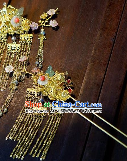 Chinese Handmade Classical Hair Accessories Ancient Hanfu Hairpins Xiuhe Suit Tassel Step Shake for Women