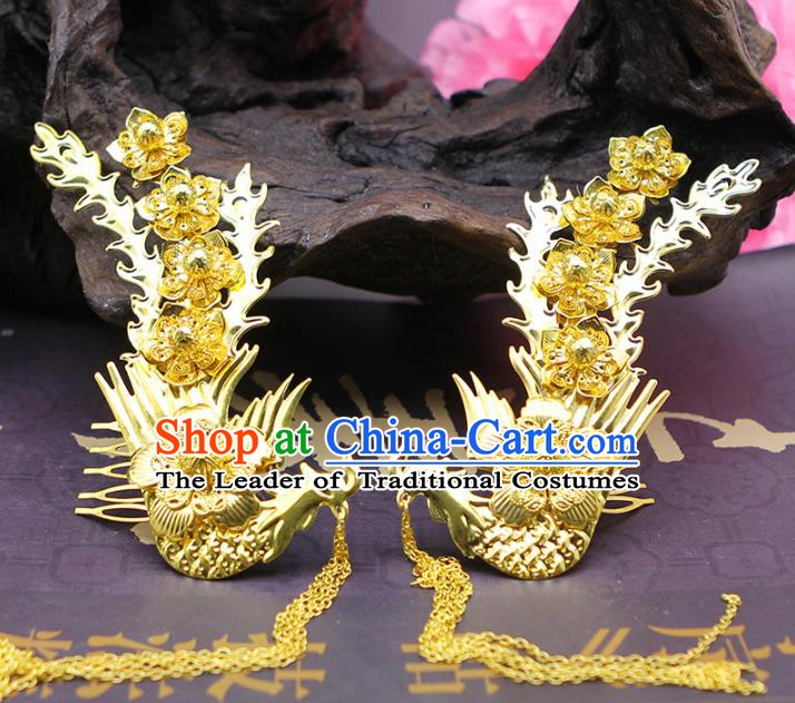 Traditional Handmade Chinese Ancient Classical Hair Accessories Phoenix Hair Comb Hairpins for Women