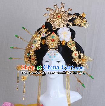 Handmade Chinese Ancient Palace Lady Hair Accessories Wig and Phoenix Coronet Hairpins for Women