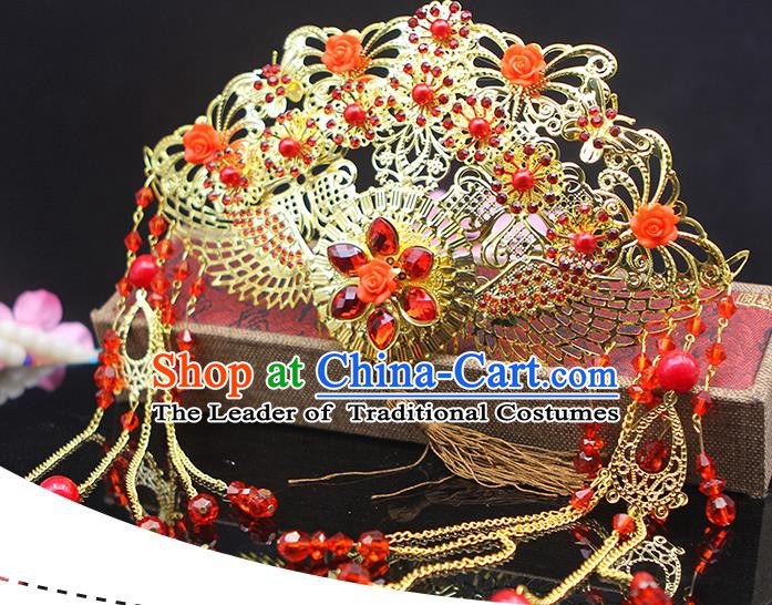 Handmade Chinese Ancient Palace Lady Hair Accessories Hanfu Hairpins Phoenix Coronet for Women