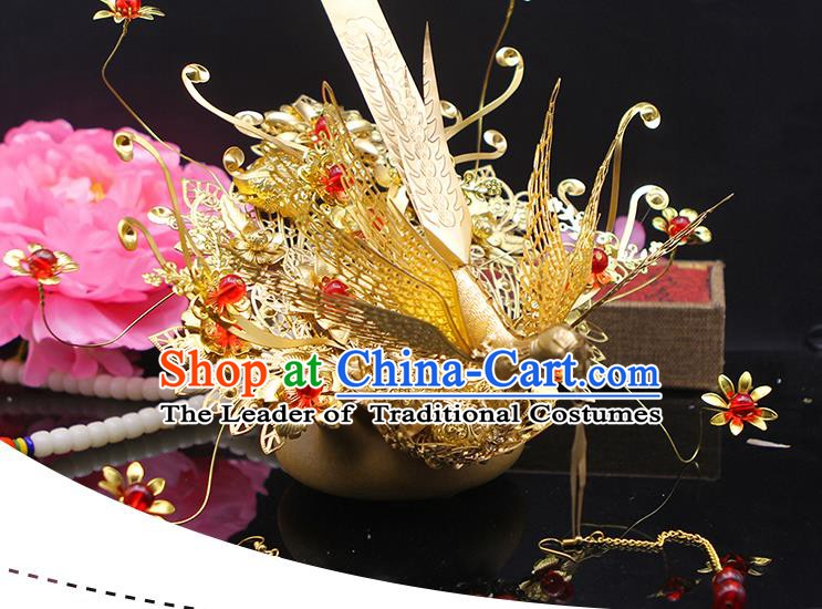 Handmade Chinese Ancient Palace Lady Hair Accessories Hanfu Phoenix Coronet for Women