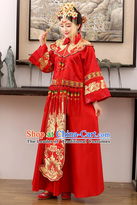 Traditional Ancient Chinese Costume Xiuhe Suits Wedding Embroidered Dragon and Phoenix Red Clothing for Women