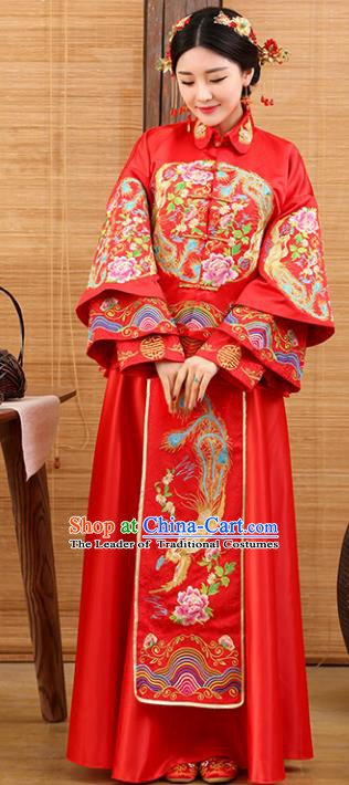 Traditional Ancient Chinese Costume Xiuhe Suits Wedding Embroidered Phoenix Peony Red Clothing for Women