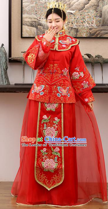 Traditional Ancient Chinese Costume Xiuhe Suits Wedding Embroidered Butterfly Peony Red Toast Clothing for Women
