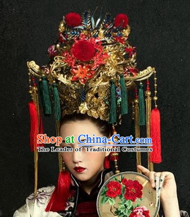 Chinese Handmade Classical Hair Accessories Bride Headdress Phoenix Coronet Ancient Hanfu Hairpins for Women