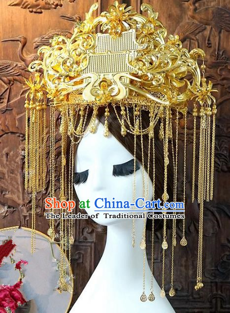 Chinese Handmade Classical Hair Accessories Ancient Hanfu Hairpins Queen Golden Tassel Phoenix Coronet for Women