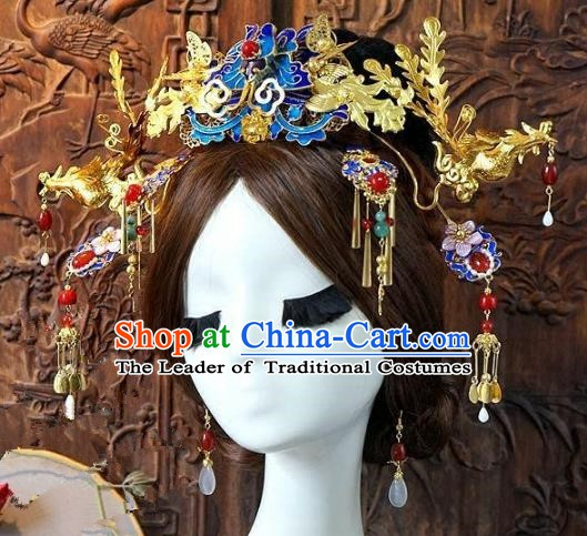 Chinese Handmade Classical Hair Accessories Ancient Hanfu Tassel Hairpins Bride Phoenix Coronet for Women