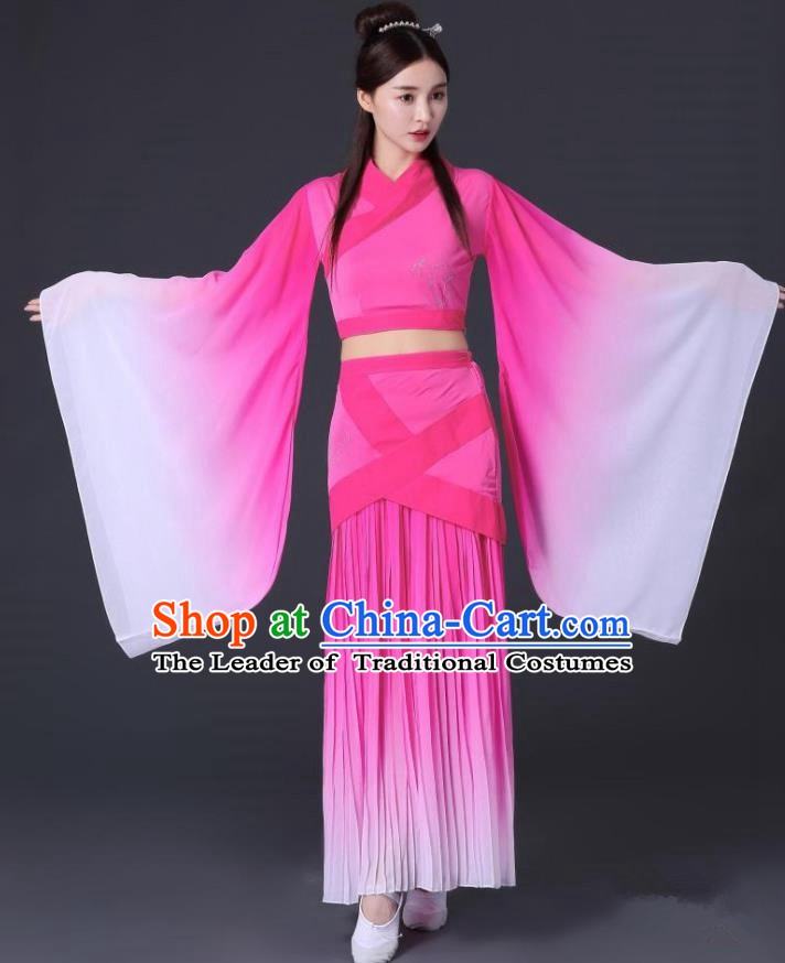 Traditional Chinese Classical Dance Costume, China Classical Folk Dance Pink Dress for Women