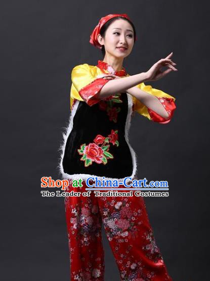 Traditional Chinese Yangge Folk Drum Dance Costume, China Yanko Dance Yellow Clothing for Women