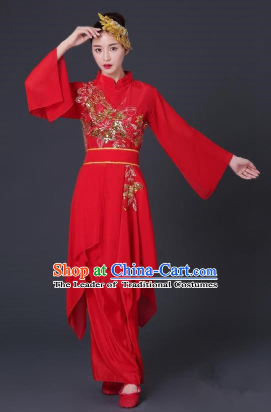 Traditional Chinese Classical Dance Red Costume, China Folk Dance Yangko Clothing for Women