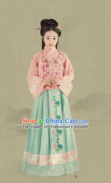 China Ancient Ming Dynasty Nobility Lady Costume Princess Hanfu Clothing for Kids