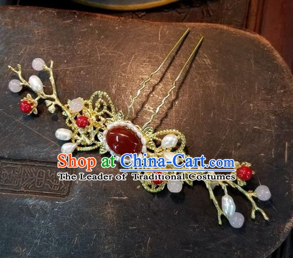 Chinese Handmade Classical Agate Hairpins Ancient Hanfu Wedding Hair Accessories for Women