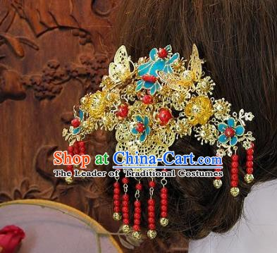 Chinese Handmade Classical Cloisonne Hair Accessories Ancient Wedding Headdress Tassel Hairpins for Women