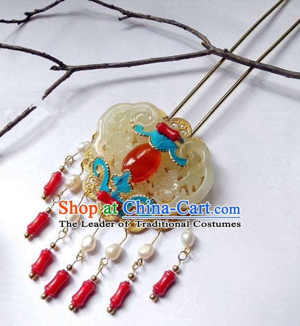 Chinese Handmade Classical Cloisonne Hair Accessories Ancient Wedding Jade Tassel Hairpins for Women