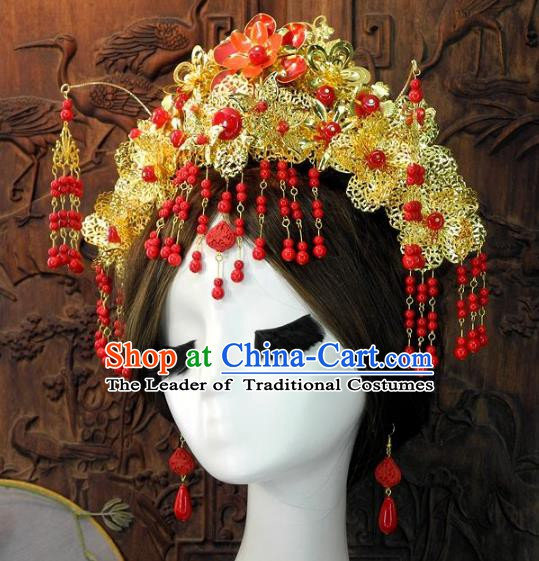 Chinese Handmade Classical Wedding Hair Accessories Ancient Red Beads Phoenix Coronet Headdress for Women