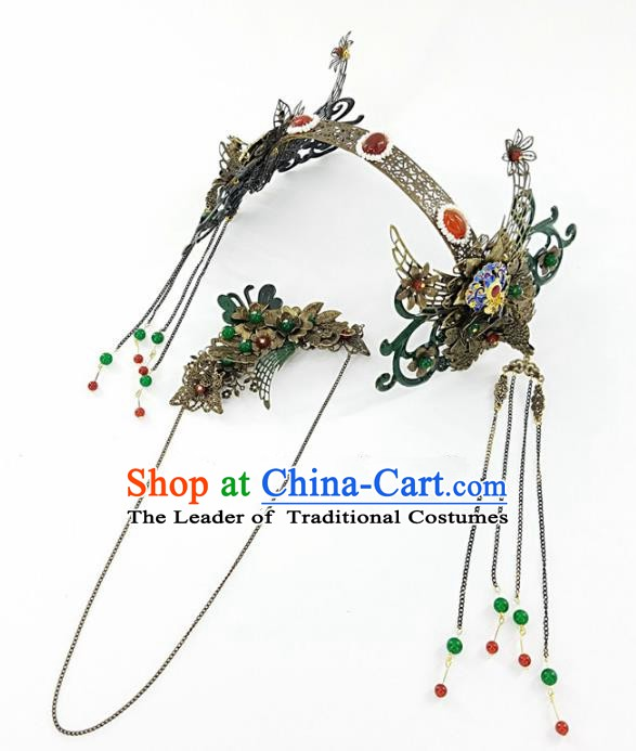 Chinese Handmade Classical Wedding Hair Accessories Ancient Phoenix Coronet Hair Clasp Headdress for Women