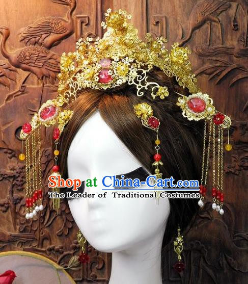 Chinese Handmade Classical Wedding Hair Accessories Ancient Hanfu Pink Jade Phoenix Coronet Headdress for Women
