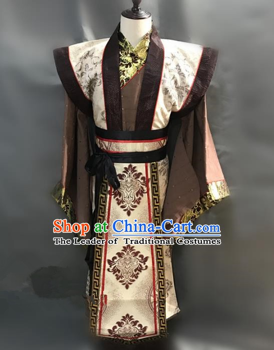 Traditional Chinese Stage Performance Costume Ancient Three Kingdoms Period Minister Cao Cao Clothing for Men