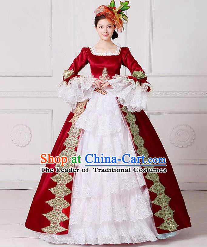 Traditional European Court Princess Renaissance Costume Stage Performance Dance Ball Dowager Wine Red Full Dress for Women