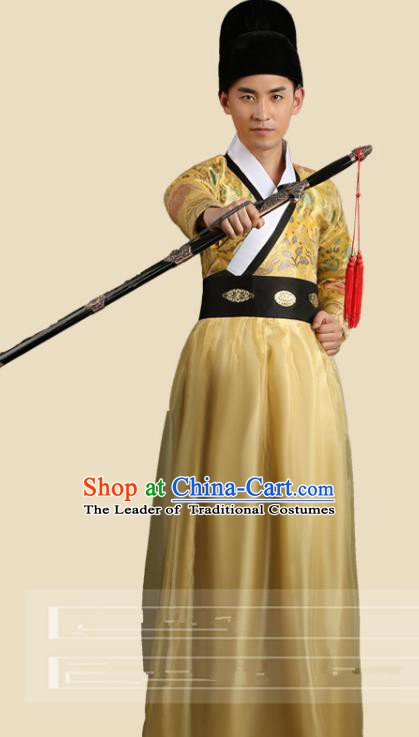Traditional China Ancient Song Dynasty Imperial Bodyguard Costume Swordsman Yellow Robe Clothing for Men