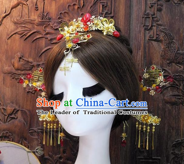 Chinese Handmade Classical Wedding Hair Accessories Ancient Hanfu Hairpins Bride Tassel Phoenix Coronet for Women