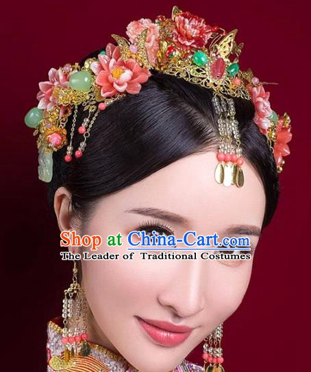 Chinese Handmade Classical Wedding Hair Accessories Phoenix Coronet Ancient Hanfu Bride Red Lotus Hairpins for Women
