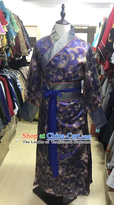 Traditional Chinese Stage Performance Costume Ancient Ming Dynasty Swordsman Royalblue Robe for Men