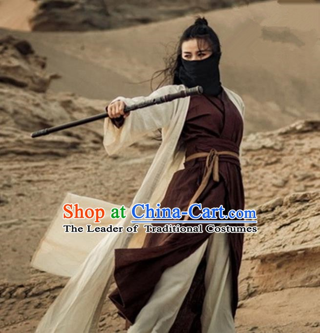 Traditional Chinese Ming Dynasty Female Knight-errant Costume Ancient Swordswoman Clothing for Women