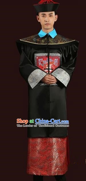 Traditional China Ancient Qing Dynasty Royal Highness Costume Manchu Minister Gwanbok for Men