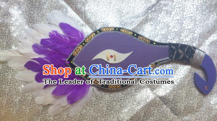 Traditional China Ancient Cosplay Palace Lady Feather Fans for Women