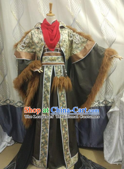 China Ancient Cosplay Swordsman Costume King Fancy Dress Traditional Hanfu Clothing for Men
