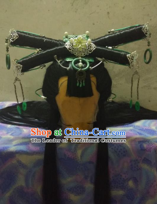 Traditional China Ancient Cosplay Swordswoman Hair Accessories Wig and Hairpins for Women