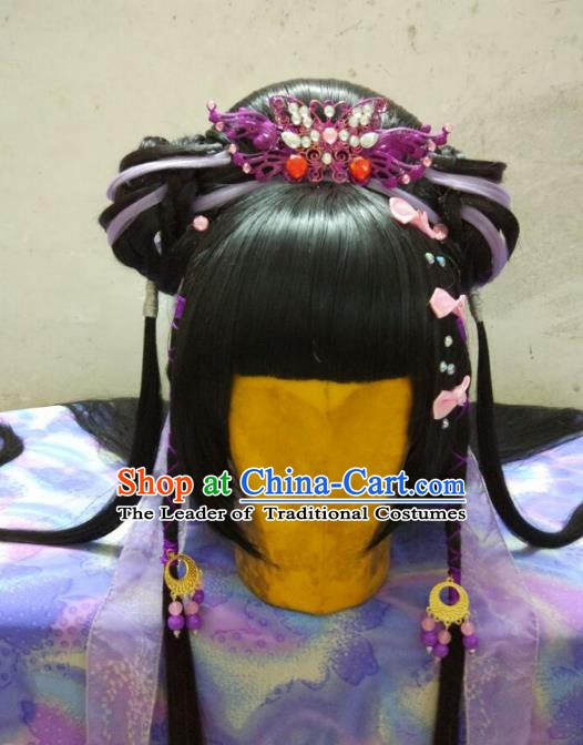 Traditional China Ancient Cosplay Palace Lady Wig and Hair Accessories Headwear for Women