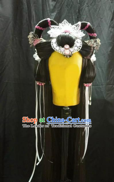 Traditional China Ancient Cosplay Royal Princess Swordsman Wig and Hair Accessories Hairpins for Women
