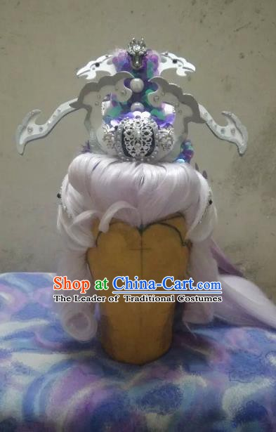 Traditional China Ancient Cosplay Nobility Childe Hair Accessories Wig and Hairdo Crown for Men