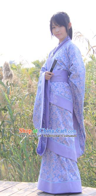 China Ancient Han Dynasty Young Lady Costume Princess Hanfu Curving-front Robe for Women
