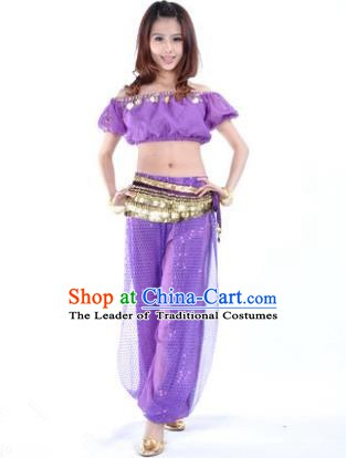 Asian Indian Belly Dance Costume Stage Performance Yoga Purple Uniform, India Raks Sharki Dress for Women