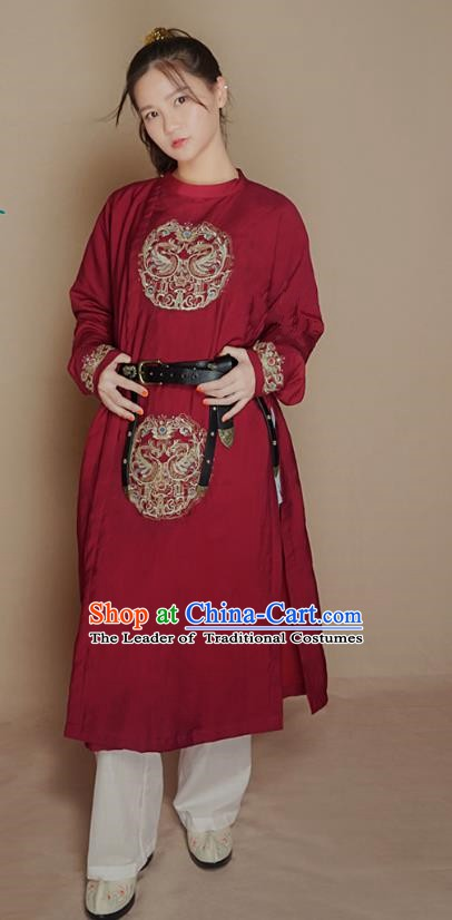 Asian China Ancient Costume Chinese Tang Dynasty Imperial Bodyguard Embroidered Clothing for Women